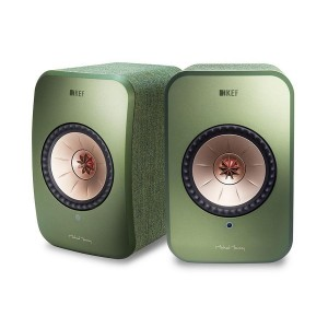 Diffusori attivi KEF LSX design Michael Young colore Oliva